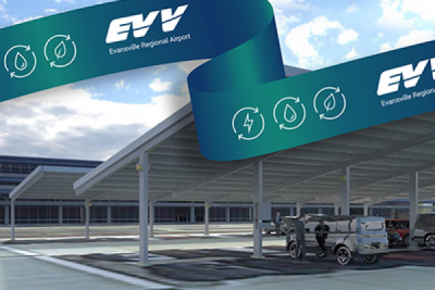 EVV STARTS CONSTRUCTION ON LARGEST SOLAR COVERED AIRPORT PARKING CANOPY IN THE U.S.